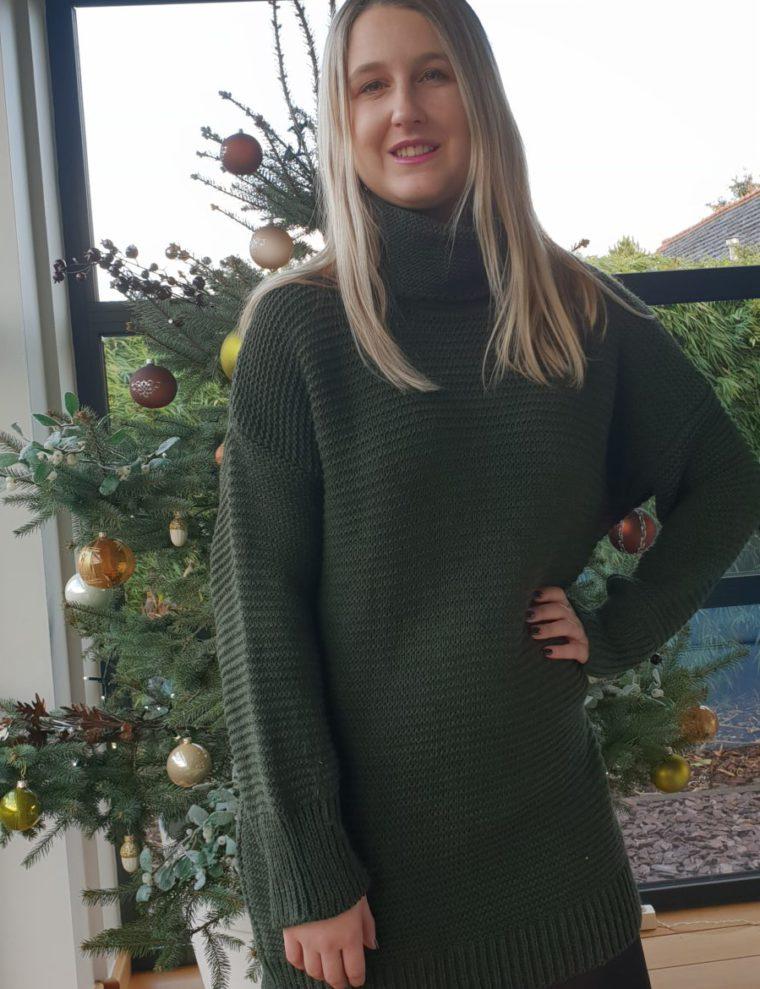 green maxi sweater