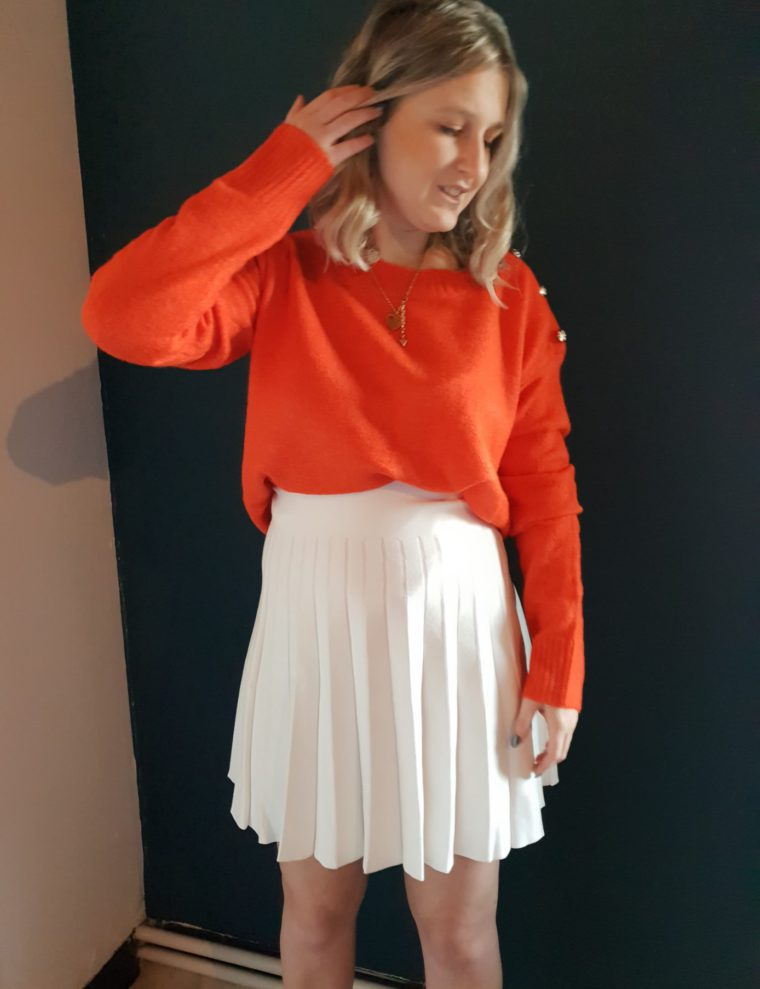 Claire skirt & Orange sweater
