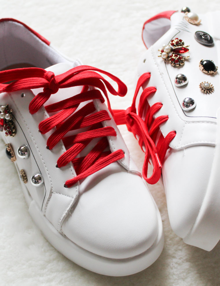 red with sneakers love studs leather look