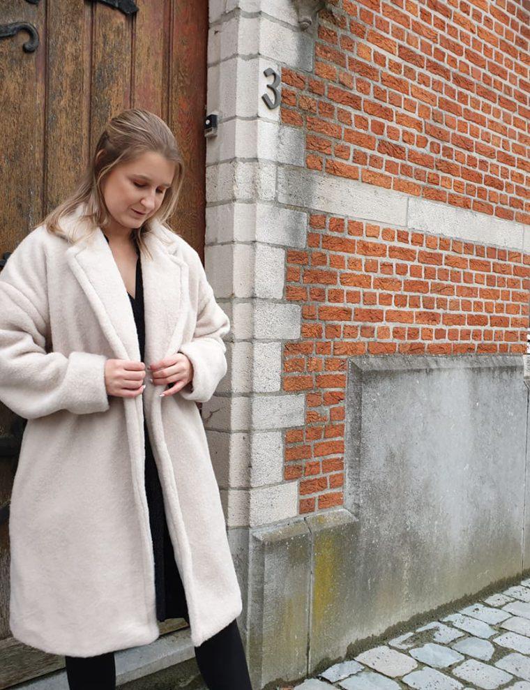 white teddy coat, maxi coat, love, fall proof, love yourself,  jas, teddy coat
