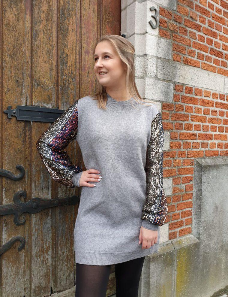 Gray Milou sweater, sequins, wool