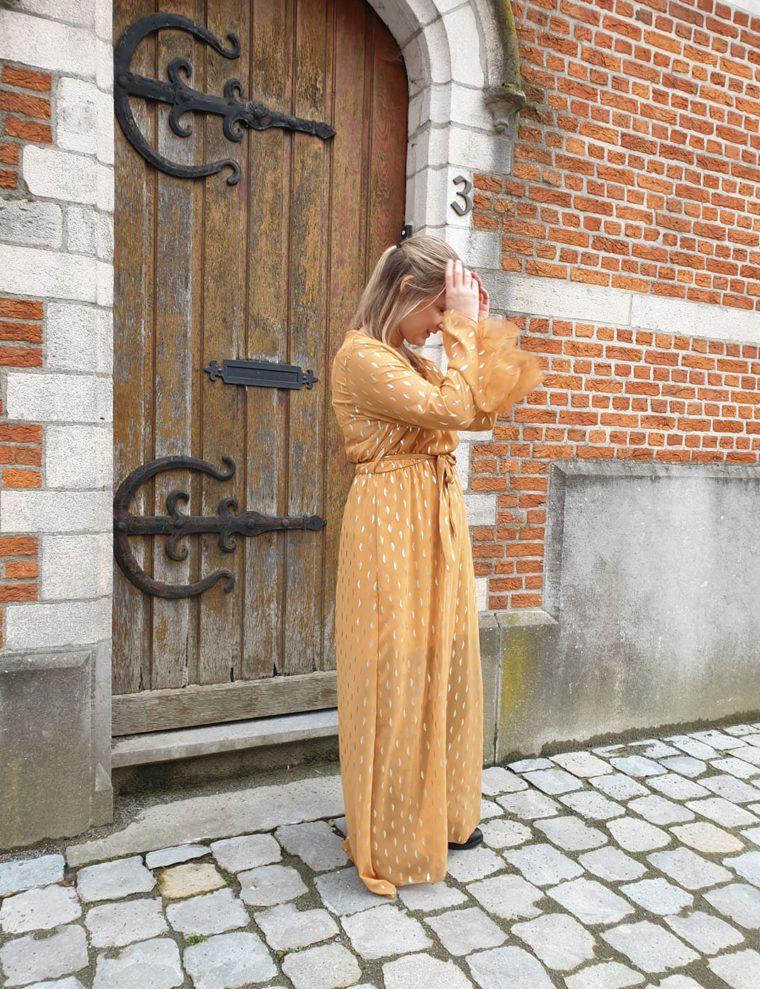 Yellow Cece dress, maxi dress, love, fall proof, love yourself, kleed, geel, oker